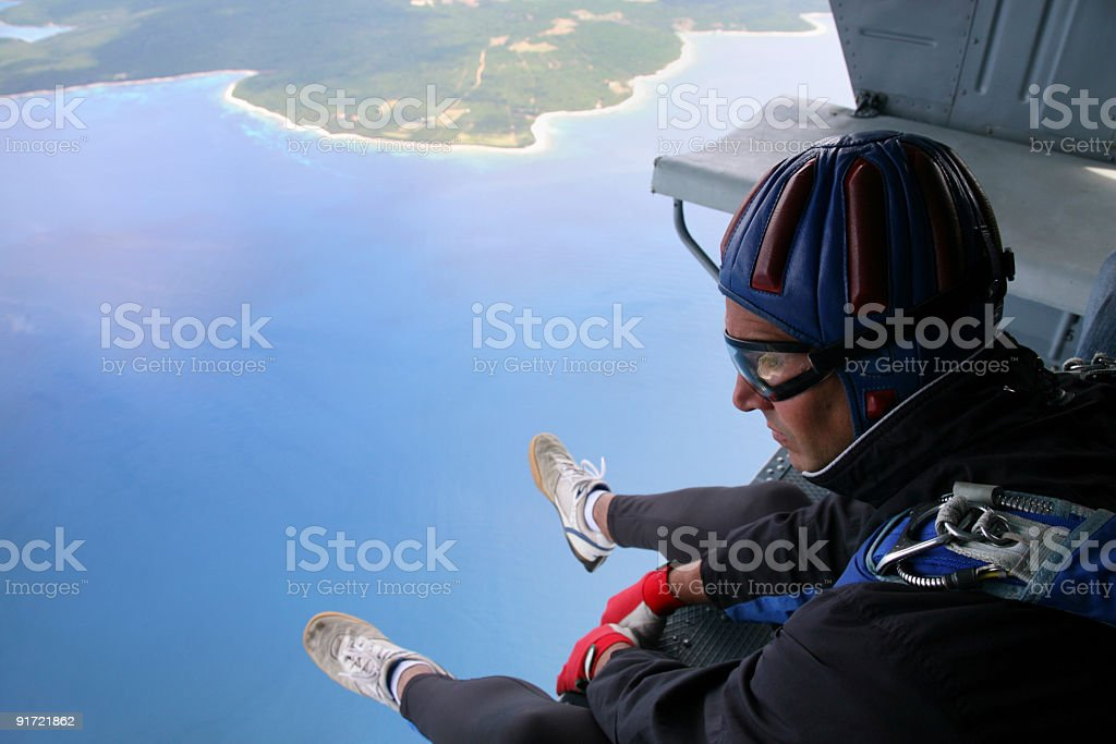 Parachuter before jump from the helicopter royalty-free stock photo