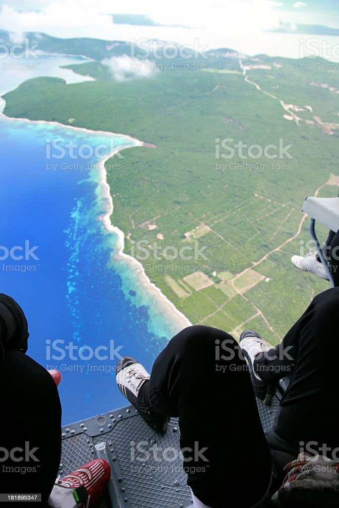 Parachuters before jump from the helicopter royalty-free stock photo