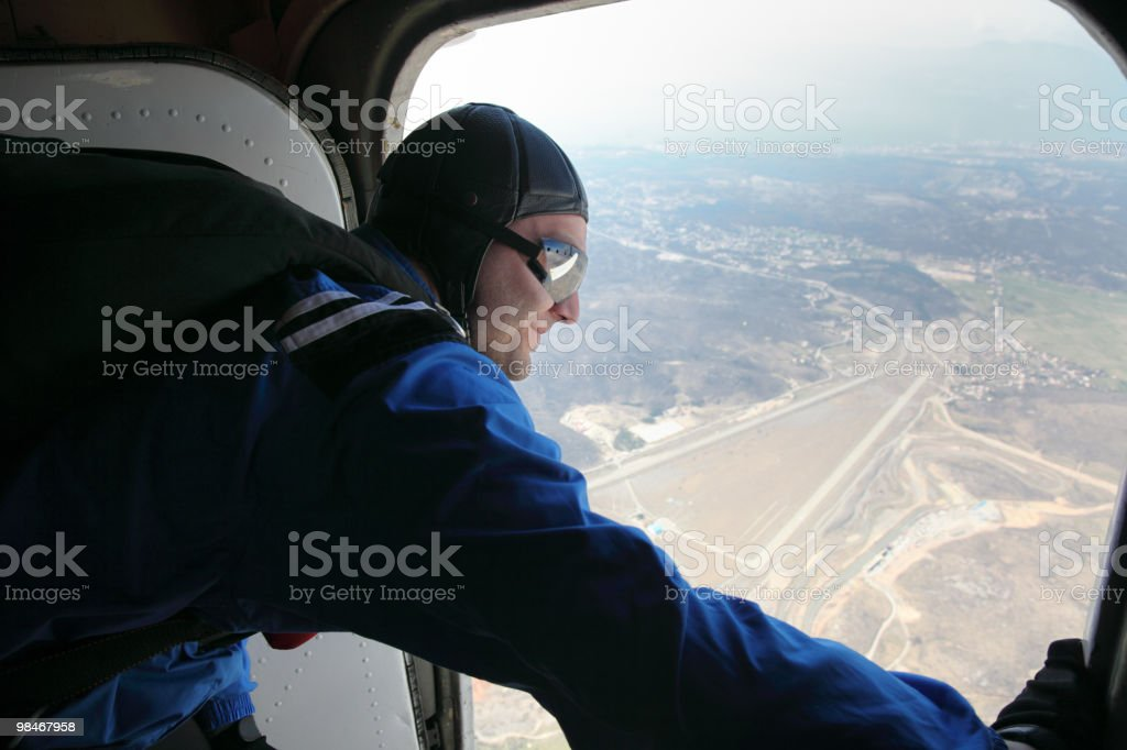 Parachutist before jump from a plane stock photo