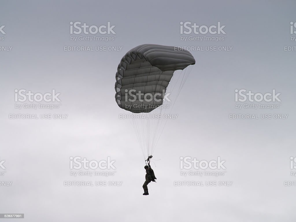 Parachutist from the swiss army stock photo