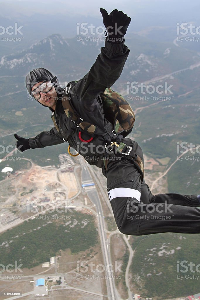 Parachutist in action royalty-free stock photo
