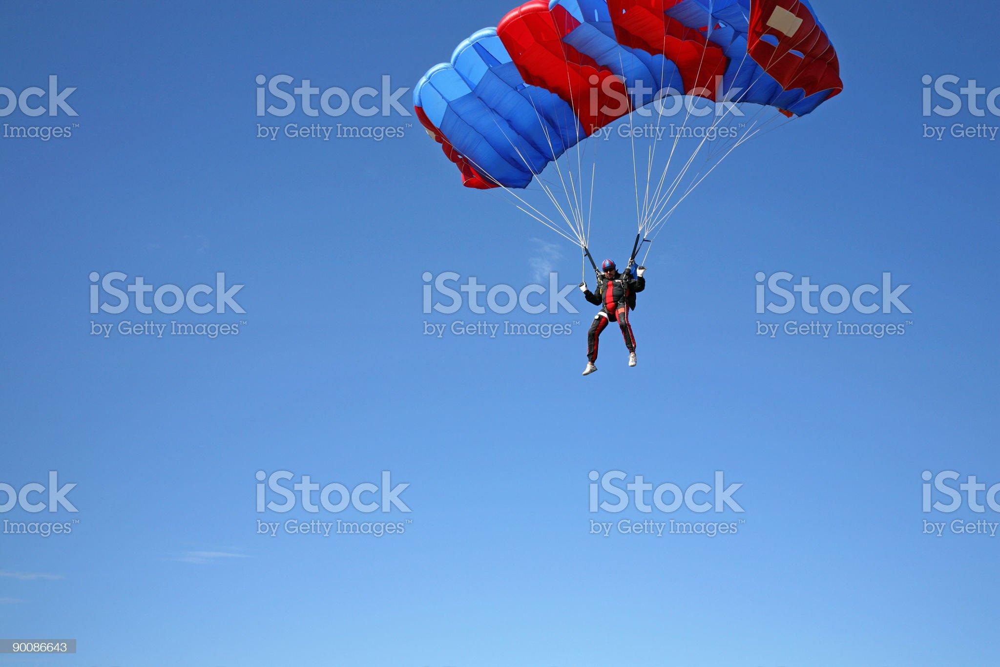 Parachutist in air royalty-free stock photo