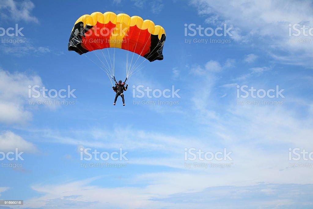 Parachutist in the air stock photo