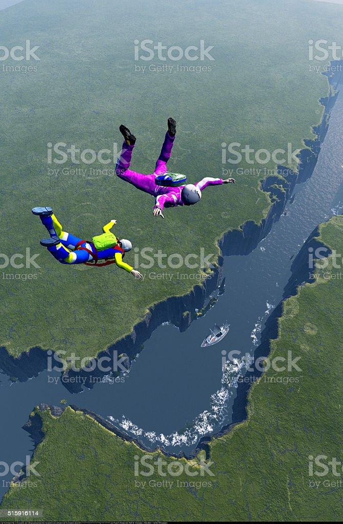 Parachutist in the sky. stock photo
