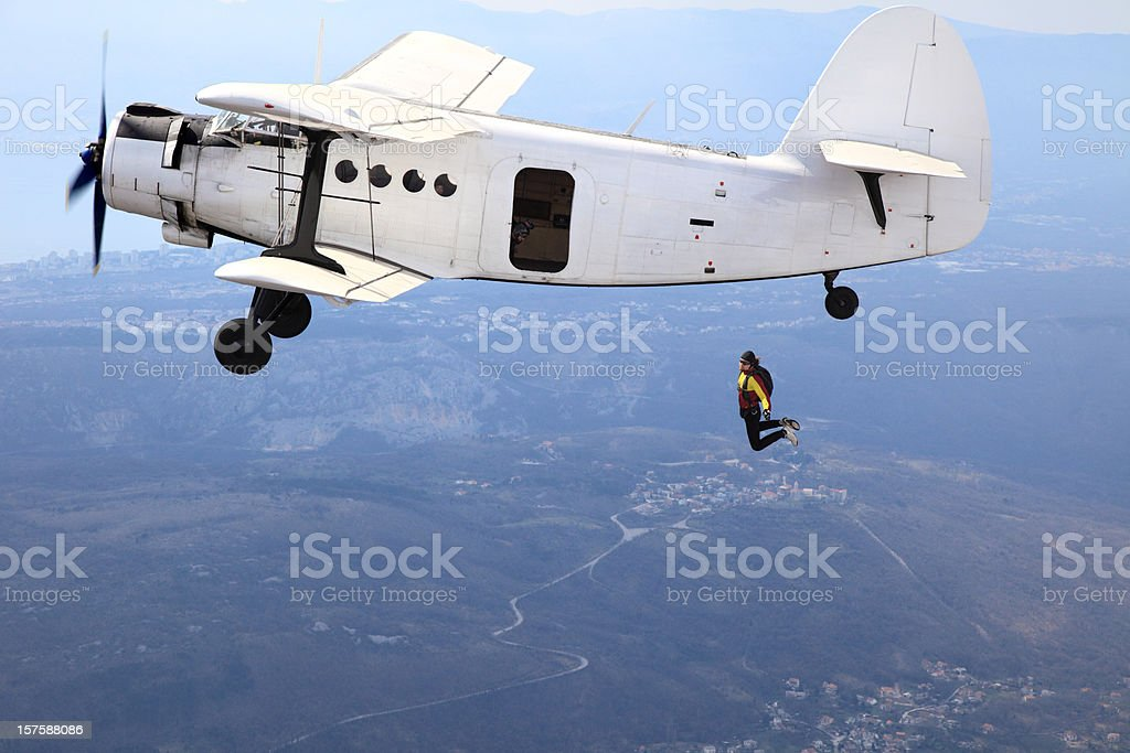 Parachutist jump from a plane royalty-free stock photo