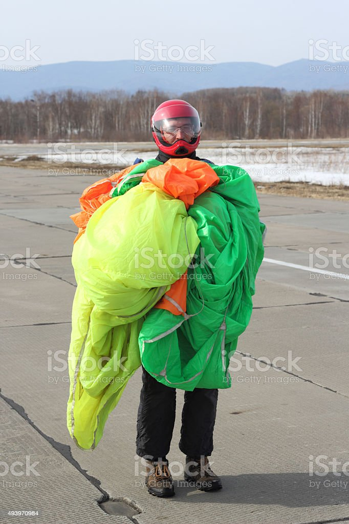 Parachutist stock photo