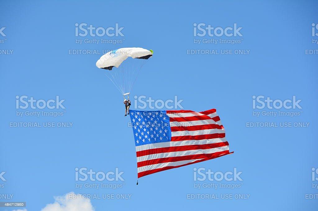 Parachutist with American Flag stock photo