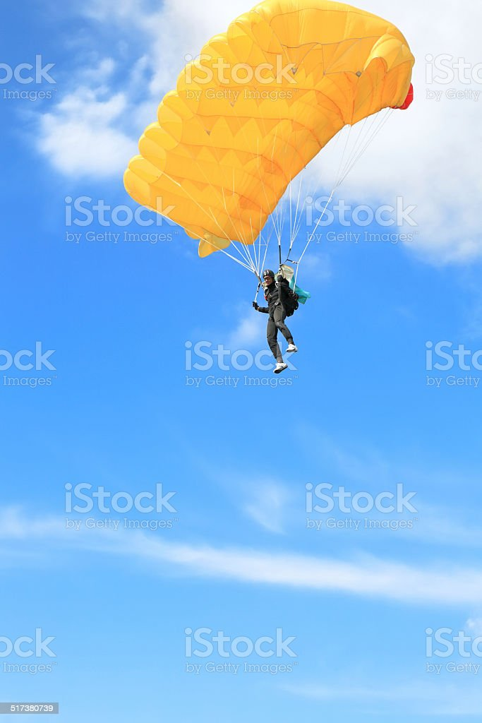 Parachutists in air stock photo