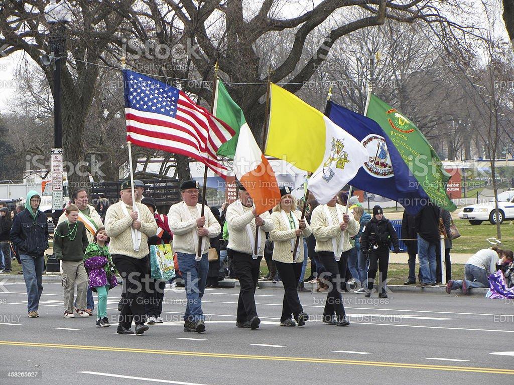 Parade Flag Bearers royalty-free stock photo