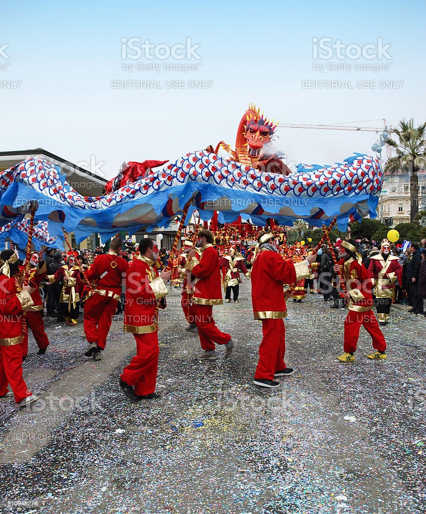 Parade float with Chinese dragon stock photo
