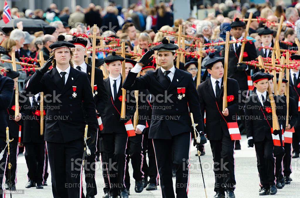 Parade in Bergen, Norway, during Constitution Day (May 17th) stock photo