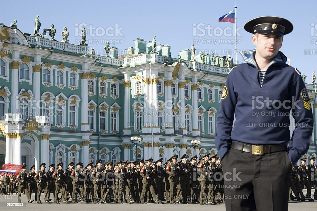 Parade in honor of Victory day 9 May St. Petersburg royalty-free stock photo