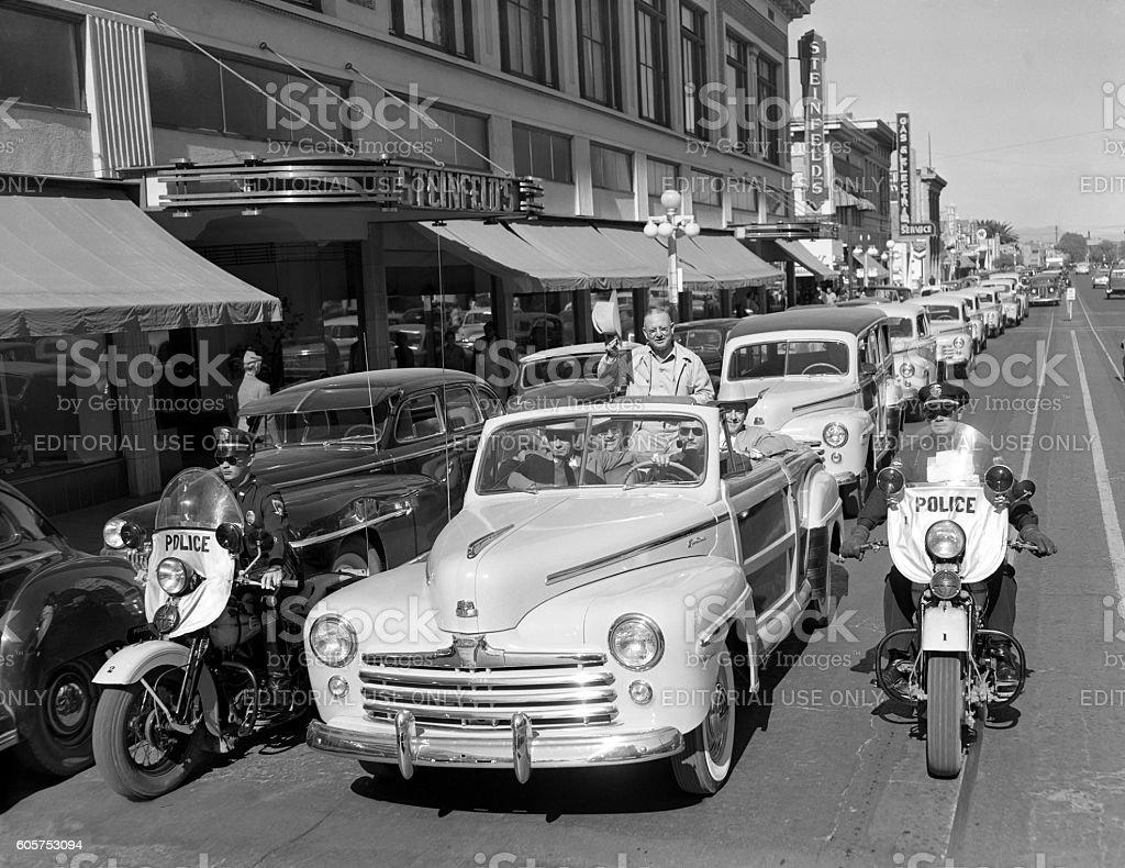 parade of 1947 Ford cars in Tucson, Arizona stock photo