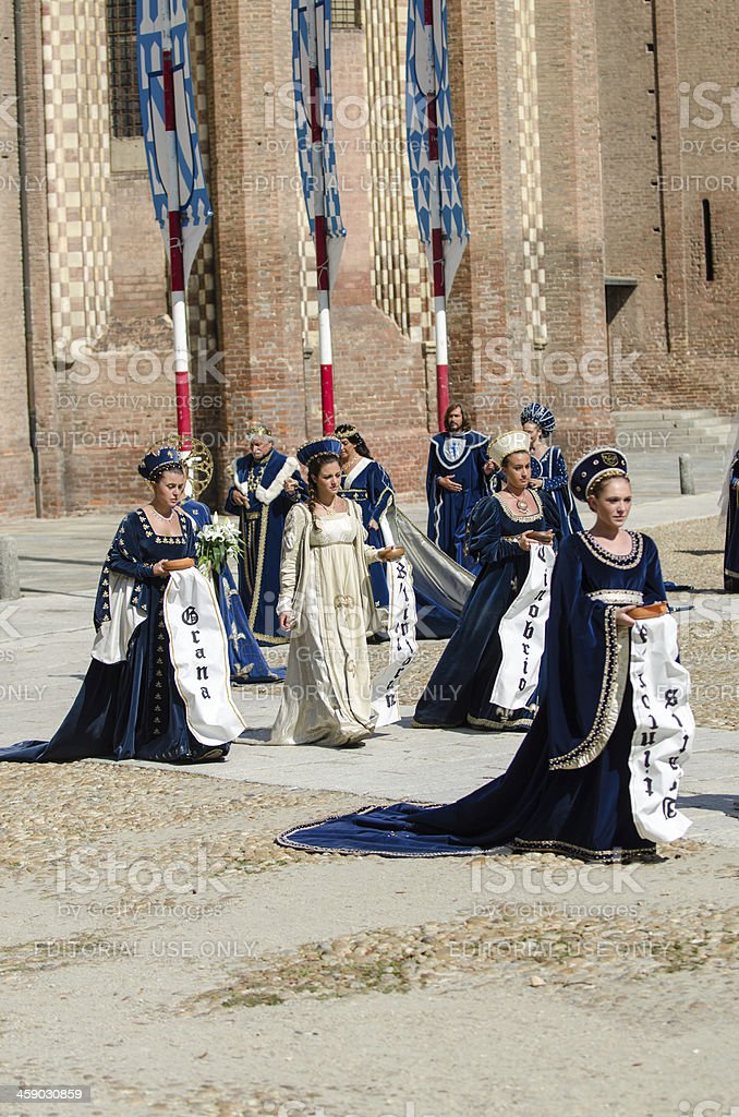 Parade of bridesmaids stock photo