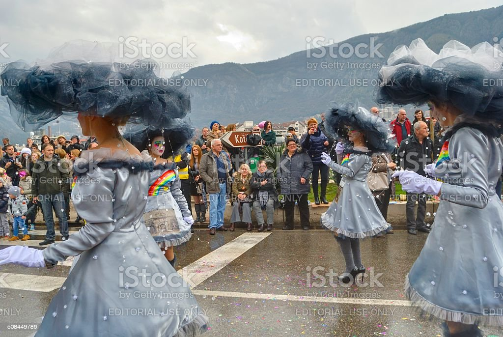 Parade of cloudy girls in carnival. stock photo