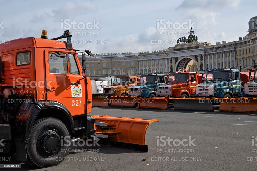 Parade of municipal cleaning trucks in Saint-Petersburg stock photo