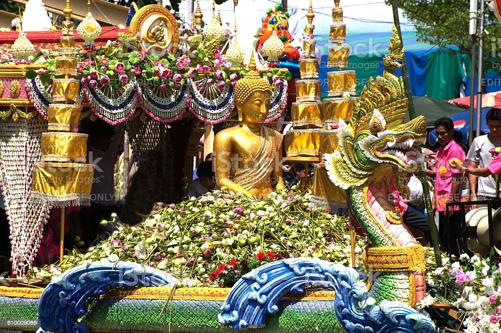 Parade of Rub Bua Festival ( Lotus Throwing Festival ) in Thailand. stock photo