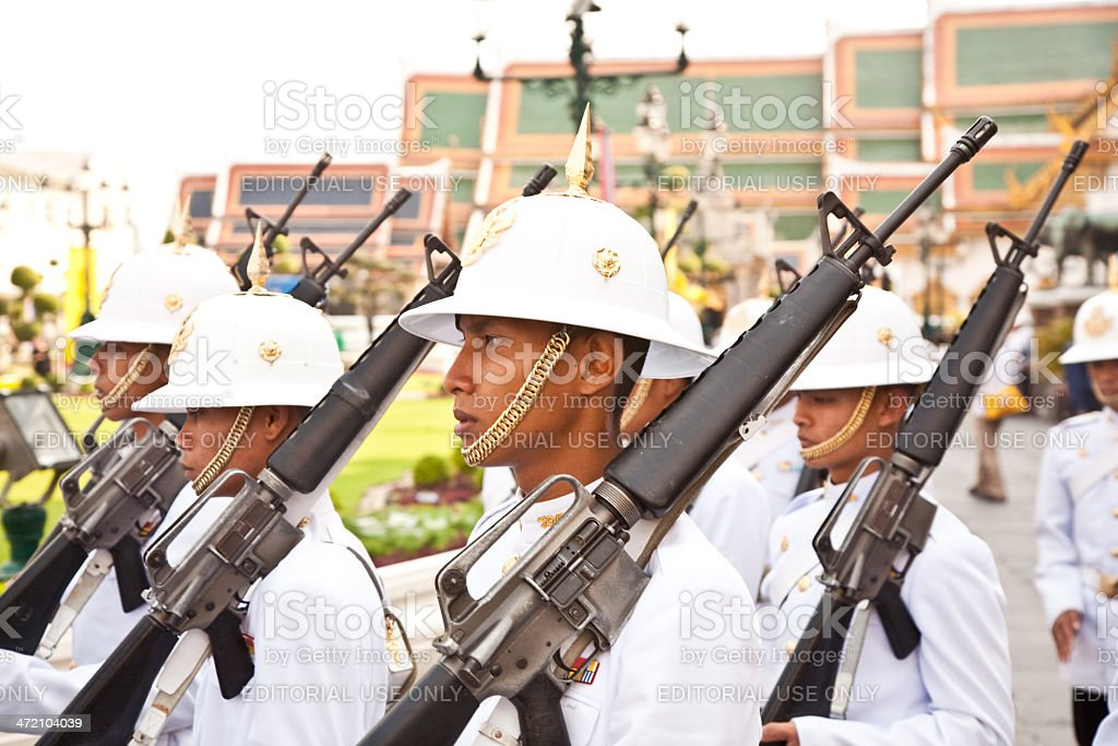 Parade of the kings Guards, Grand Palace royalty-free stock photo
