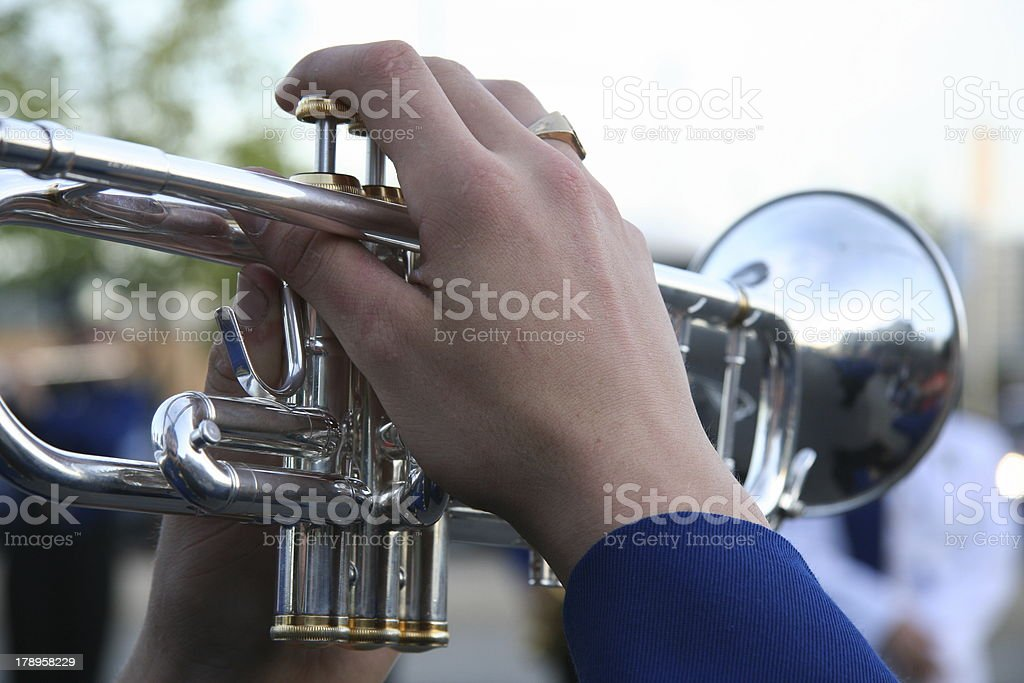 Parade Trumpet Player stock photo