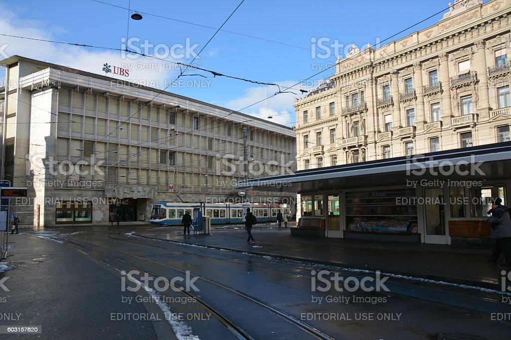 Paradeplatz  Credit Suisse and UBS stock photo