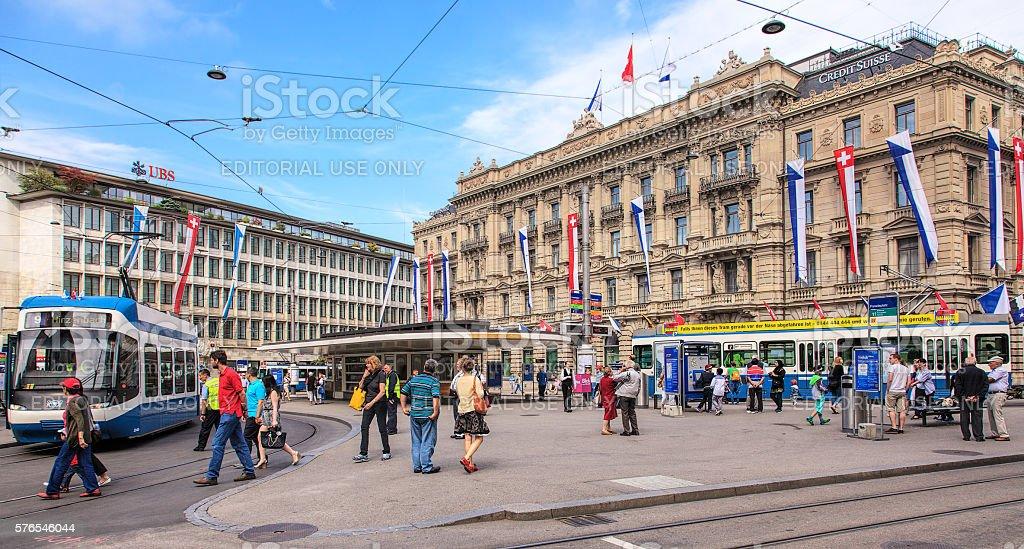 Paradeplatz square in Zurich, Switzerland stock photo