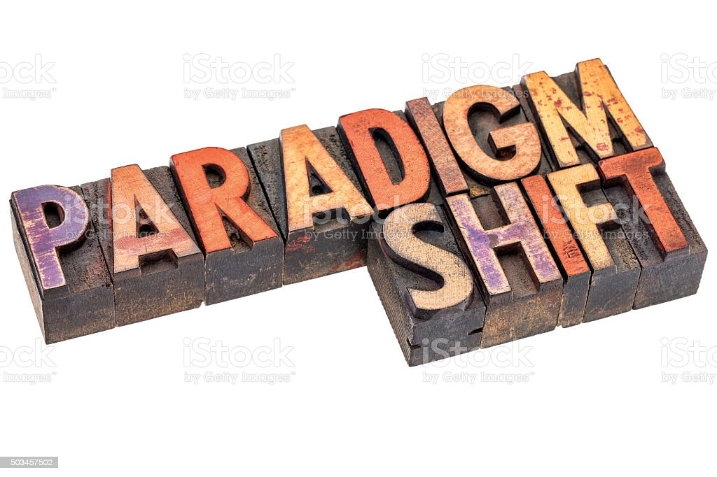 paradigm shift in vintage wood type stock photo