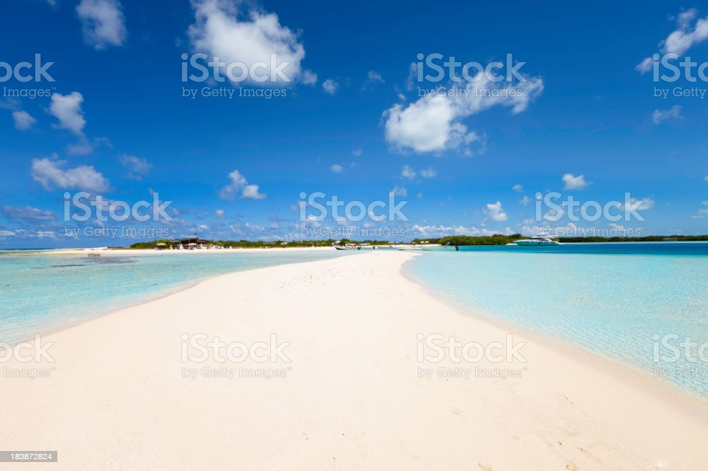 Paradisaical tropical white sand cays with turquoise beaches royalty-free stock photo