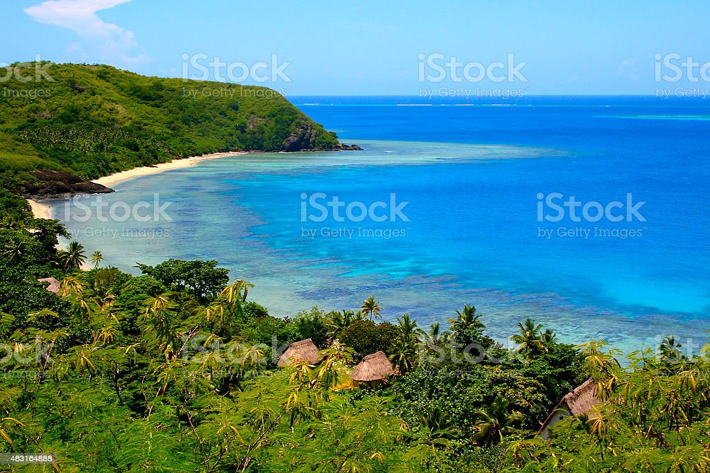 Paradise: above Fiji Yasawa islands, deserted turquoise beach and palapas stock photo