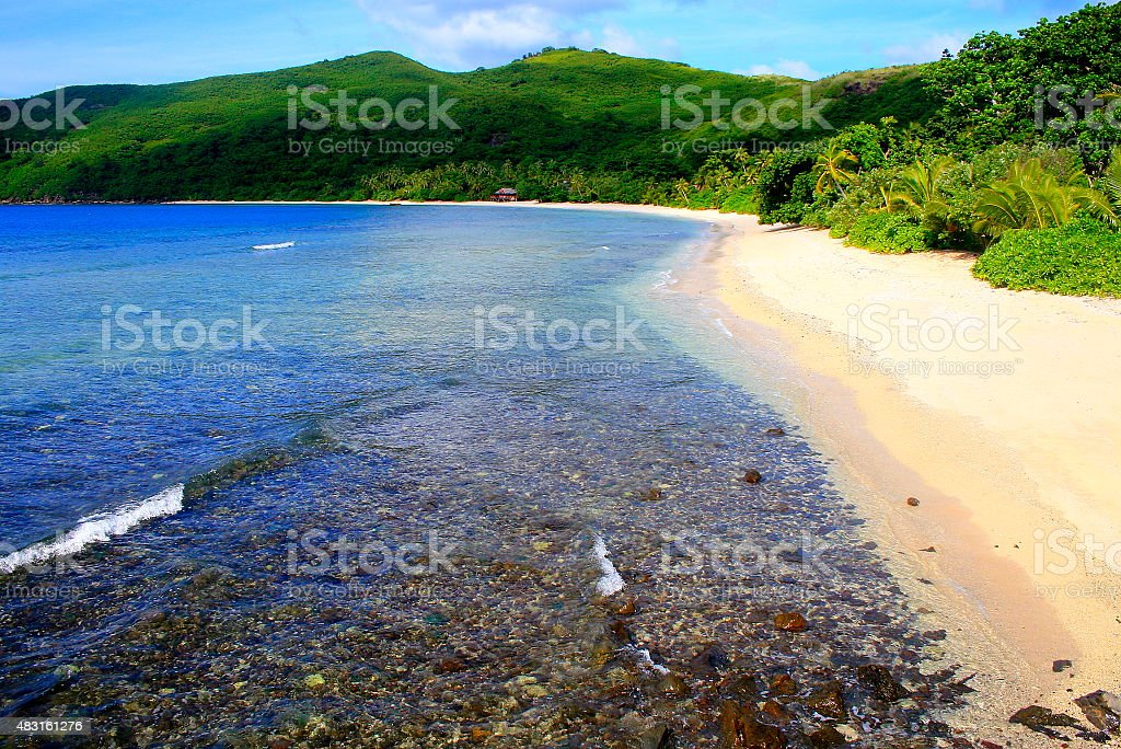 Paradise aerial view: Fiji Yasawa islands, deserted turquoise beach stock photo