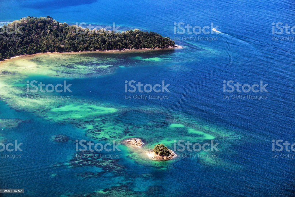 Paradise atoll Borneo stock photo