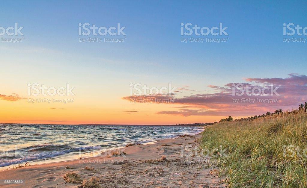 Paradise Beach At Sunset stock photo