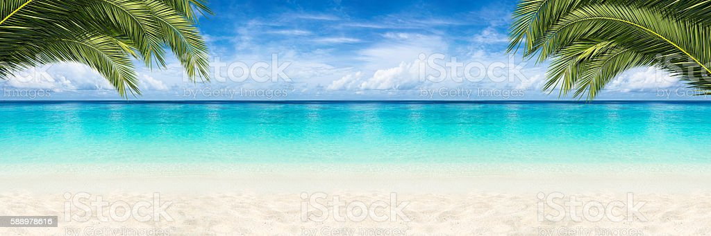 paradise beach background stock photo