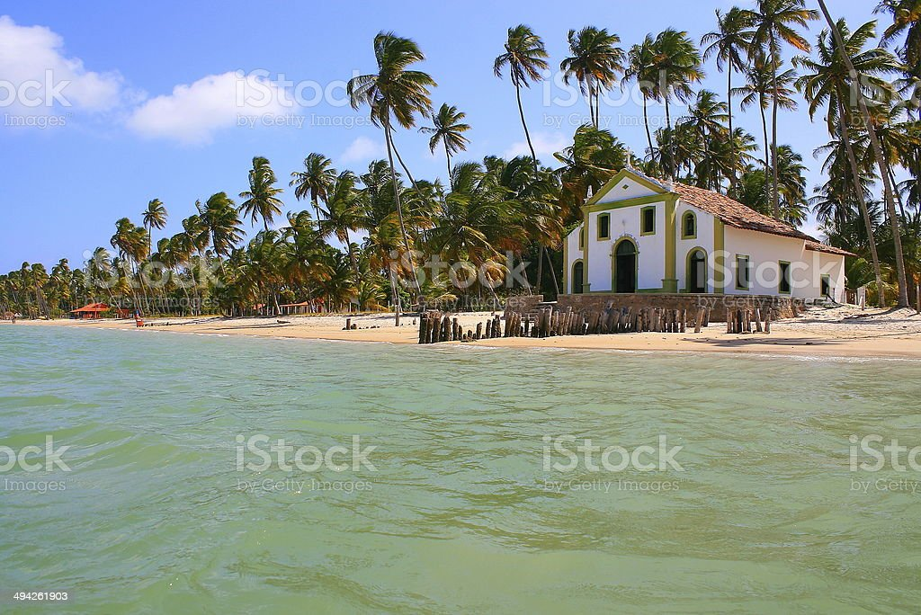 Paradise Beach & Chapel in Northeastern Brazil, South America stock photo