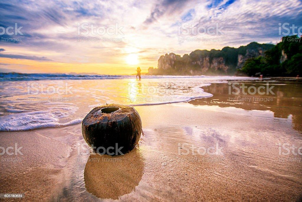 paradise beach landscape at sunset stock photo
