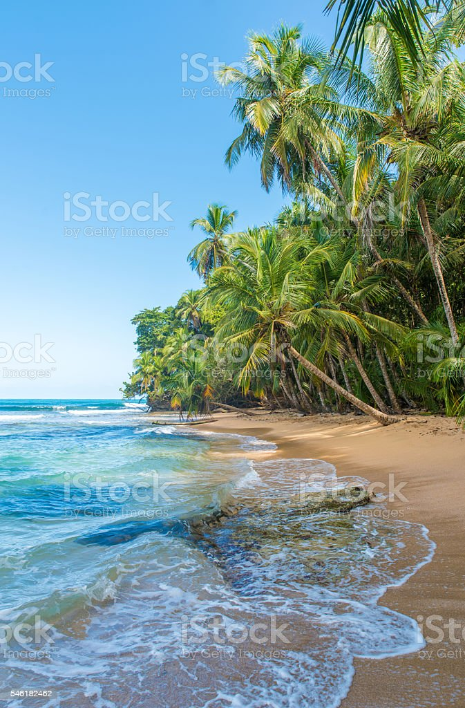 Paradise beach of Manzanillo Park in Costa Rica stock photo