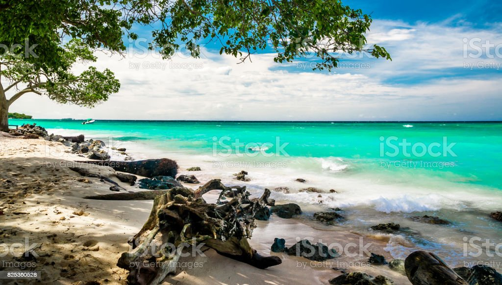 Paradise beach of Playa blanca by Baru in Colombia stock photo