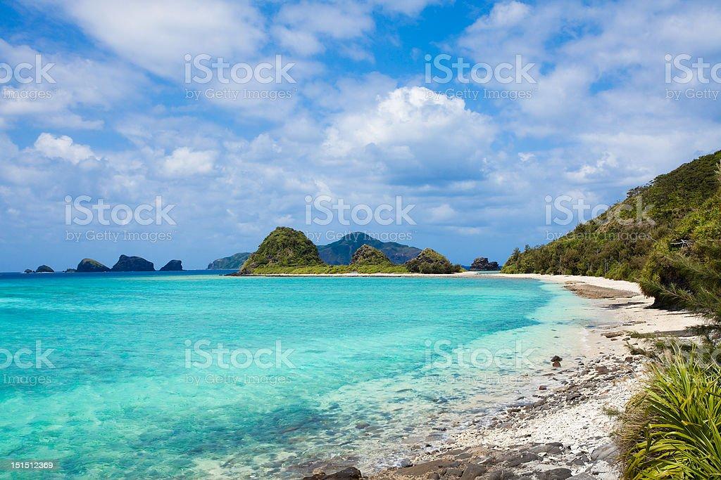 Paradise beach on a deserted island of Japan stock photo