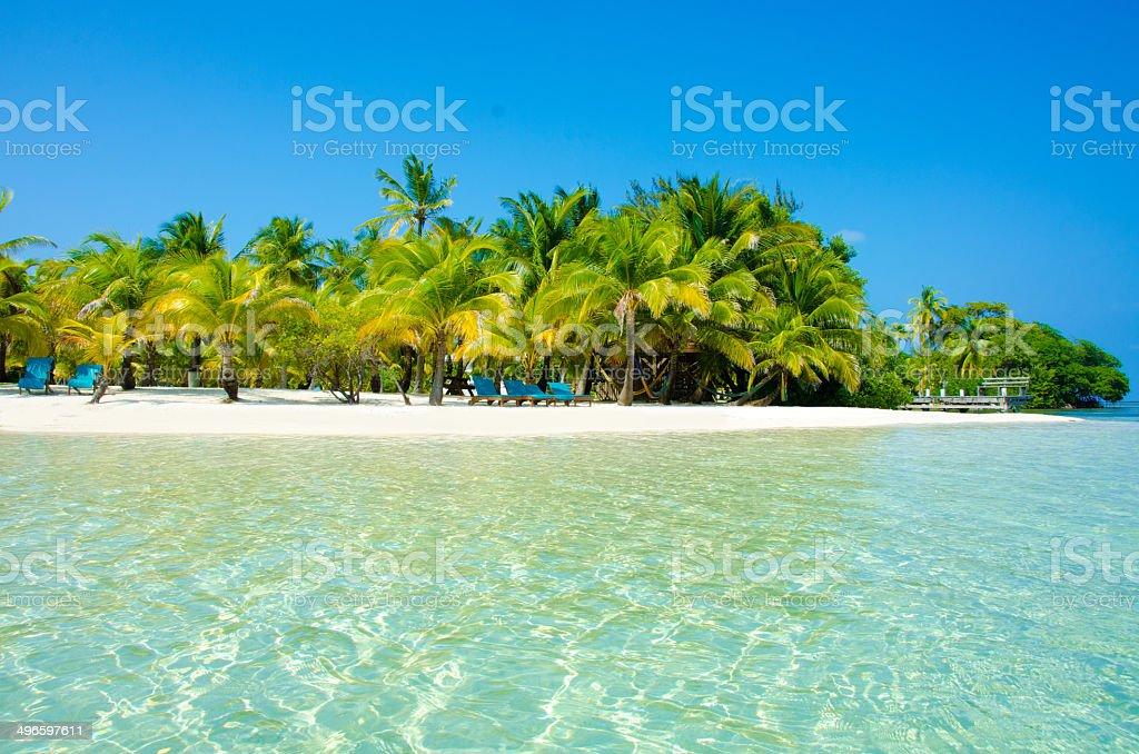 Paradise Beach on beautiful island South Water Caye - Belize stock photo