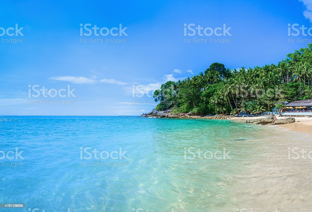 Paradise beach with golden sand, Thailand stock photo
