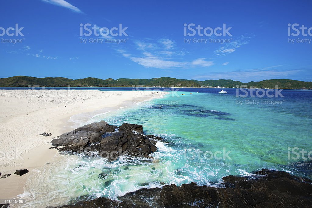 Paradise coral cay of tropical Japan stock photo