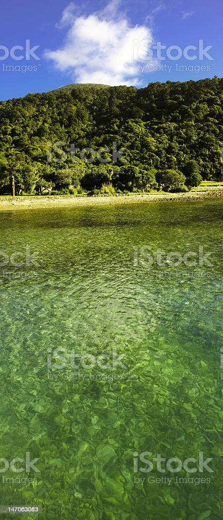 Paradise Green Bay and clear water stock photo