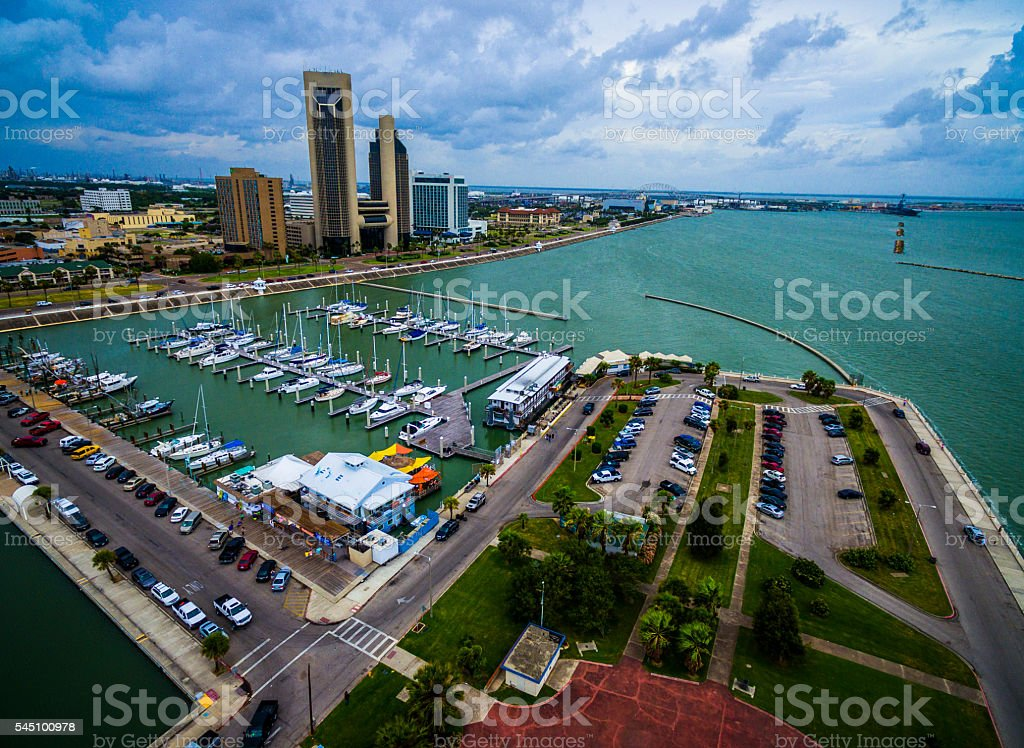 Paradise Gulf of Mexico Corpus Christi Texas Marina Aerial stock photo