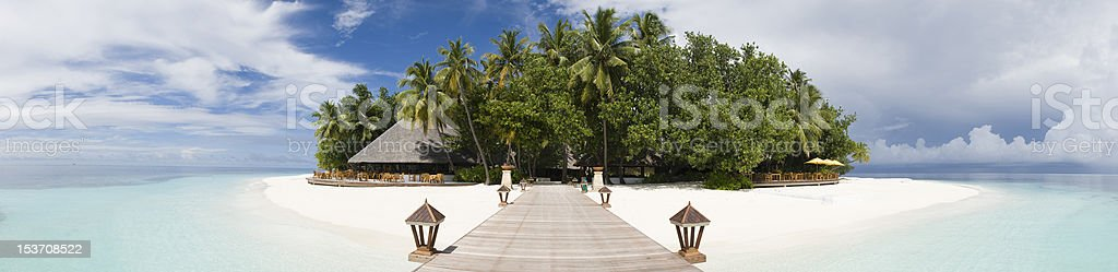 Paradise island in Maldives panoramic view stock photo