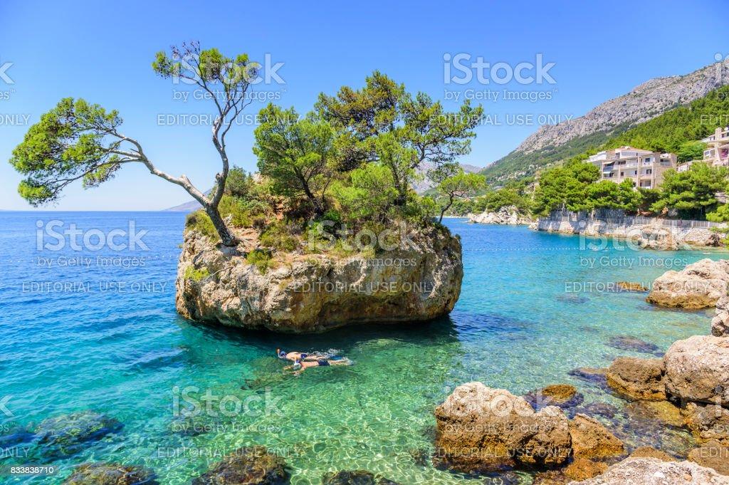 Paradise island in the blue sea. Croatia stock photo