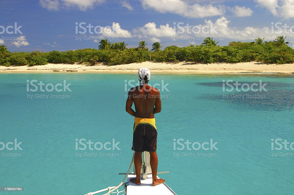 Paradise island of Caribbean Sea stock photo