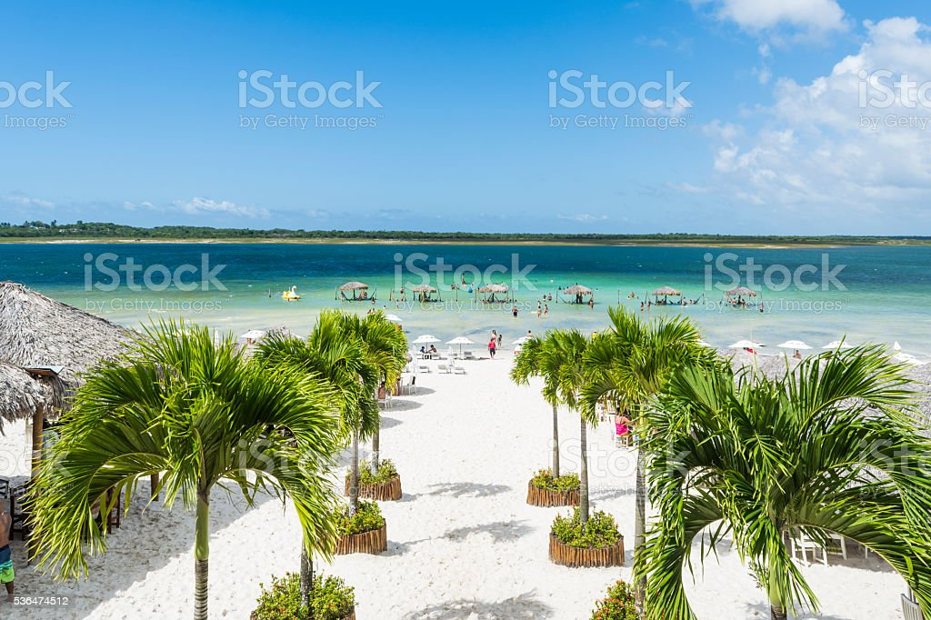 Paradise lagoon from above in Jericoacoara, Ceara, Brazil. stock photo
