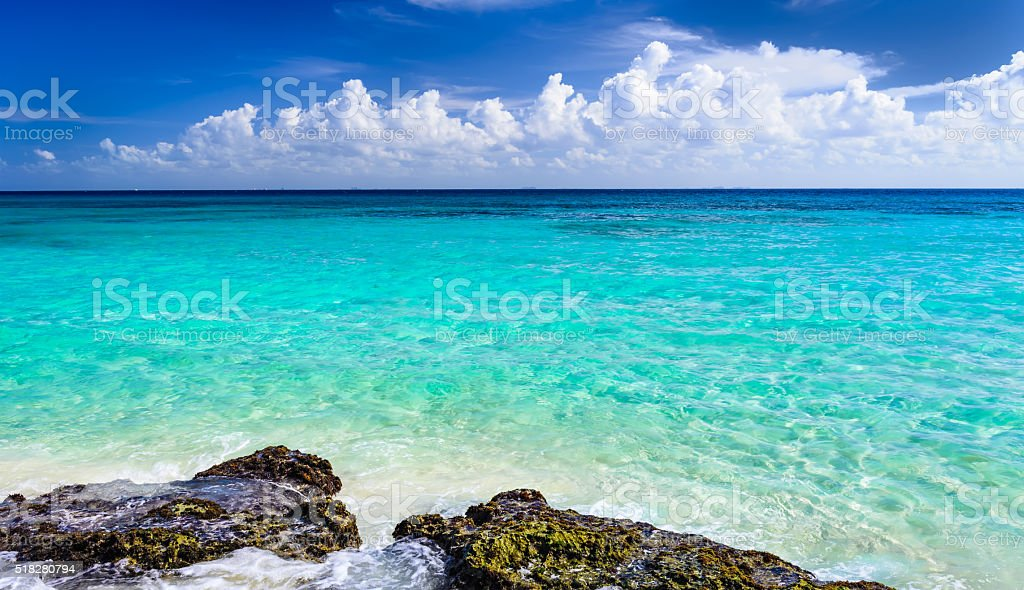Paradise nature, sand, sea on the tropical beach stock photo