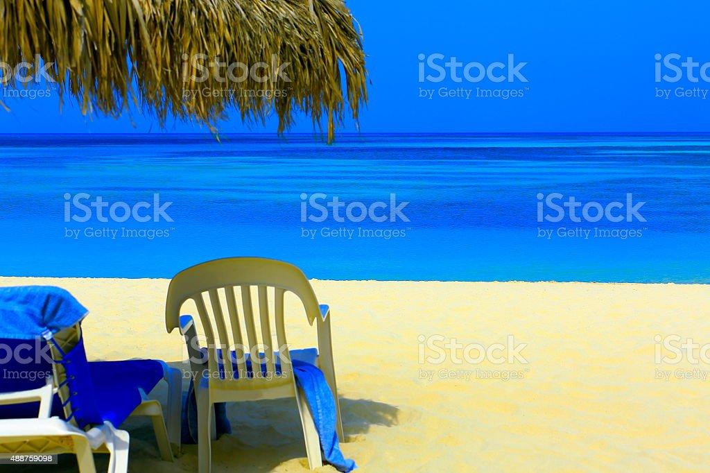 Paradise sandy beach! Turquoise caribbean, rest sunshade stock photo