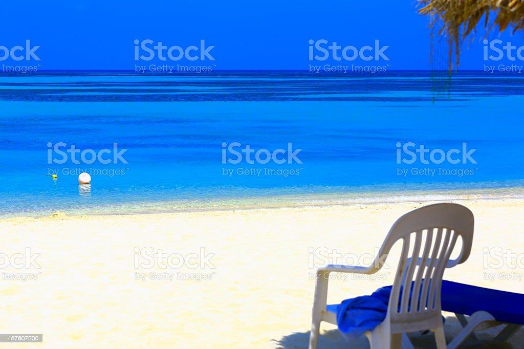 Paradise sandy beach! Turquoise caribbean sea relax stock photo