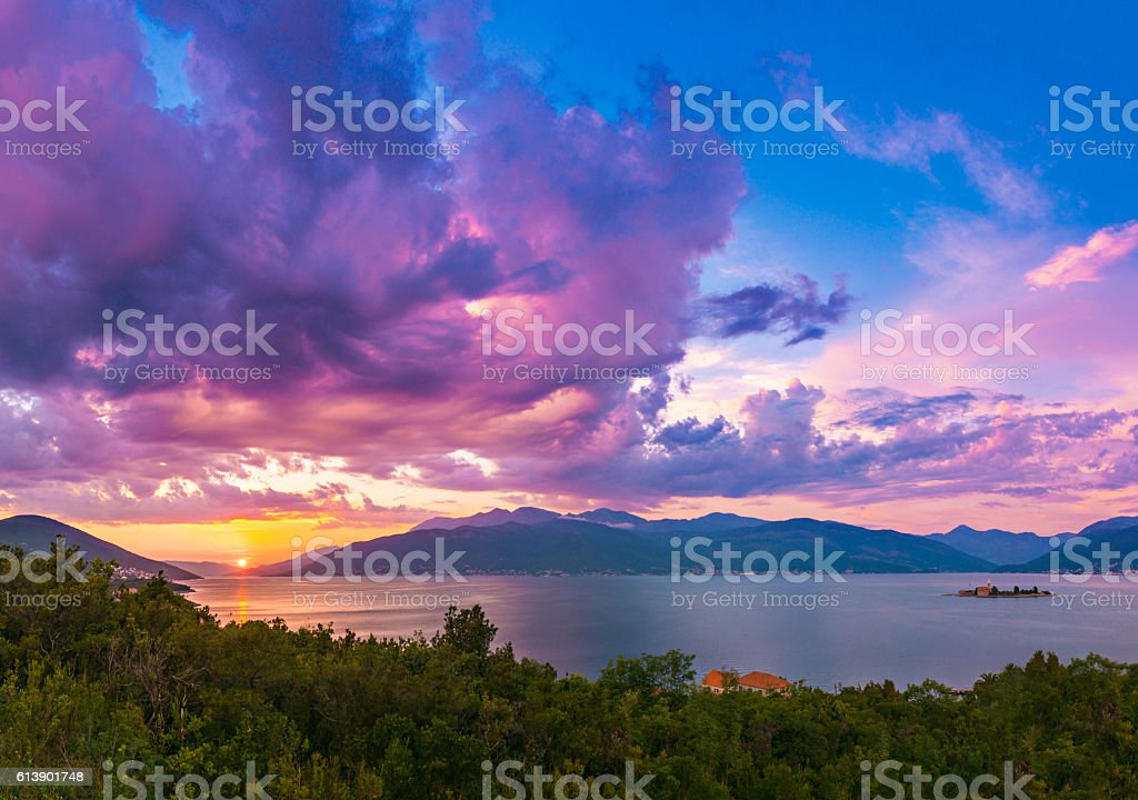 Paradise Sunset Above The Beautiful Sea and Mountains  in Montenegro stock photo